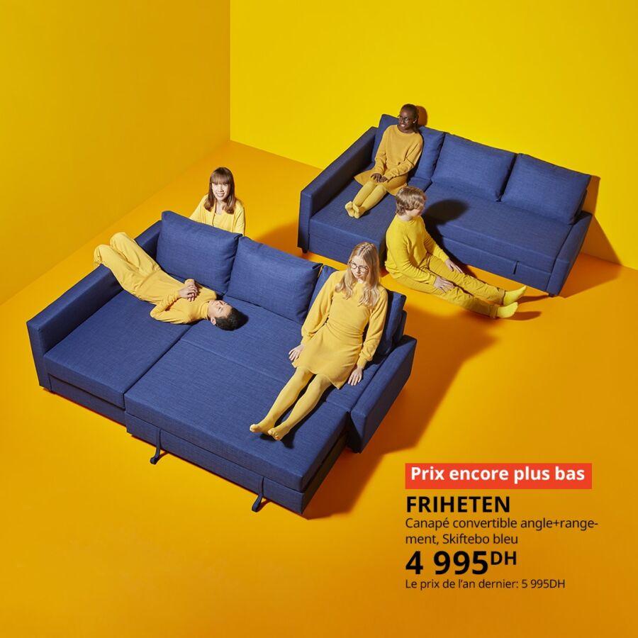 Soldes Ikea Maroc Canapé convertible FRIHETEN 4995Dhs au lieu de 5995Dhs