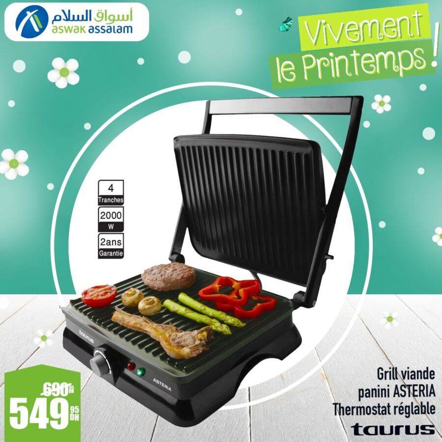 Soldes Aswak Assalam Grill multi usage TAURUS 549Dhs au lieu de 690Dhs