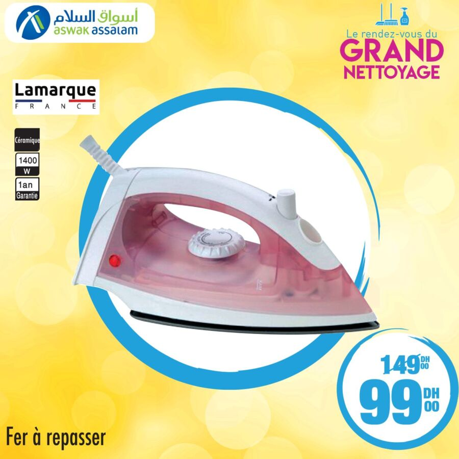 Soldes Aswak Assalam Fer à repasser LAMARQUE 99Dhs au lieu de 149Dhs