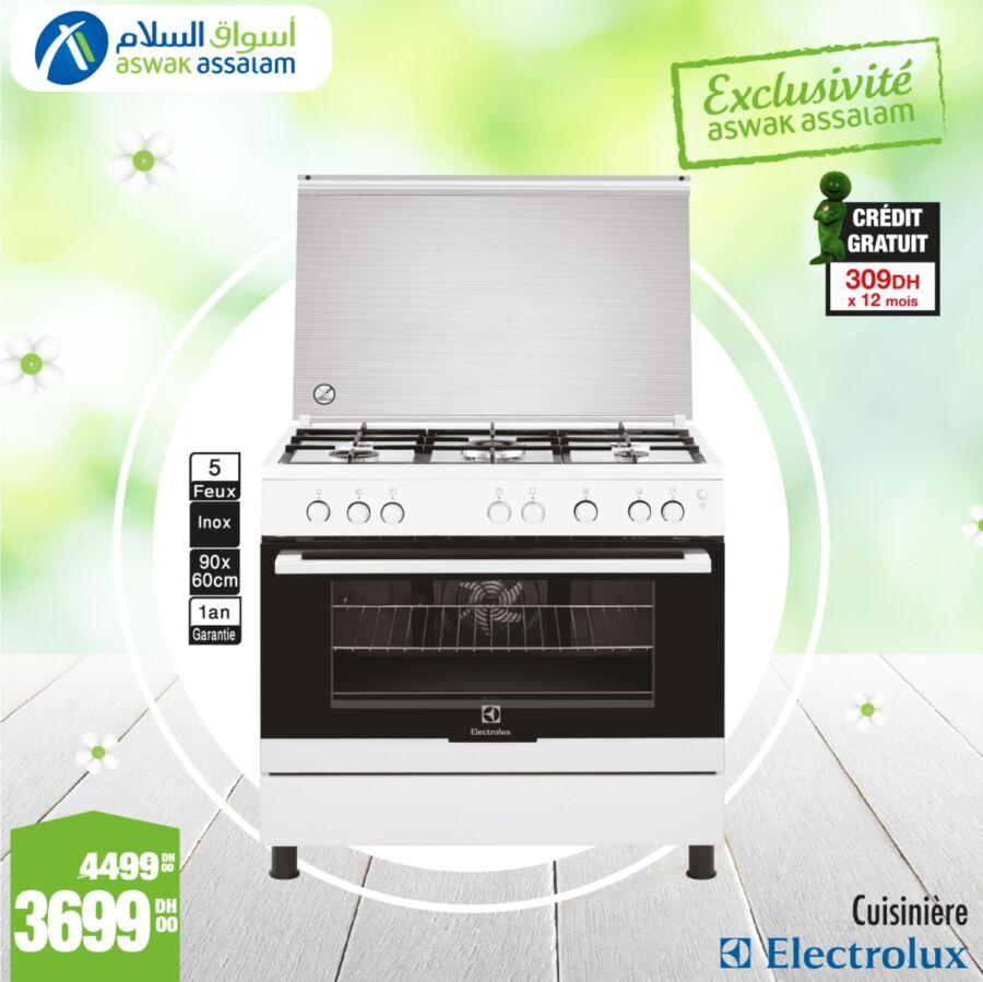 Soldes Aswak Assalam Cuisinière 5 feux inox ELECTROLUX 3699Dhs au lieu de 4499Dhs