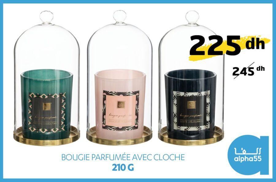 Soldes chez Alpha55 Bougie parfumée avec cloche 210g 225Dhs au lieu de 245Dhs