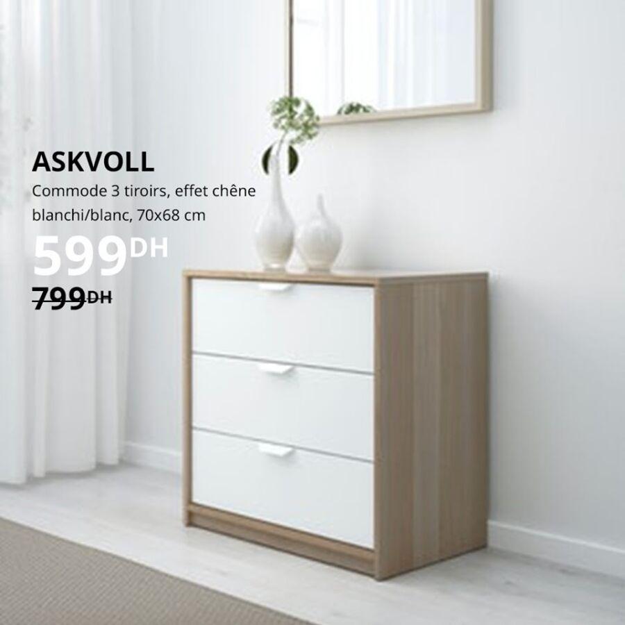 Soldes Ikea Maroc Commode 3 tiroirs 70x68xm 599Dhs au lieu de 799Dhs