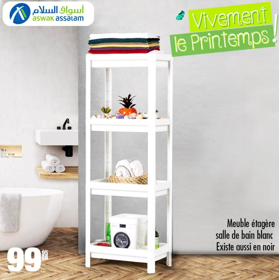 Offre du printemps Aswak Assalam Meuble étagère salle de bain à 99Dhs