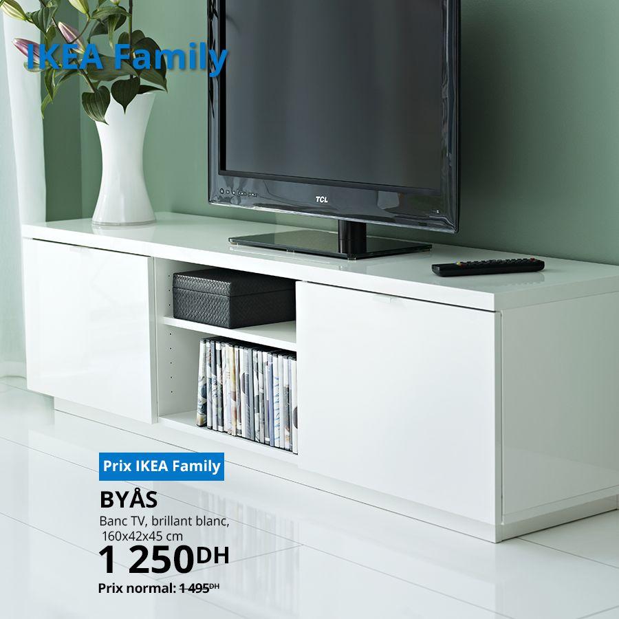 Soldes Ikea Family Banc TV blanc brillant 1250Dhs au lieu de 1495Dhs
