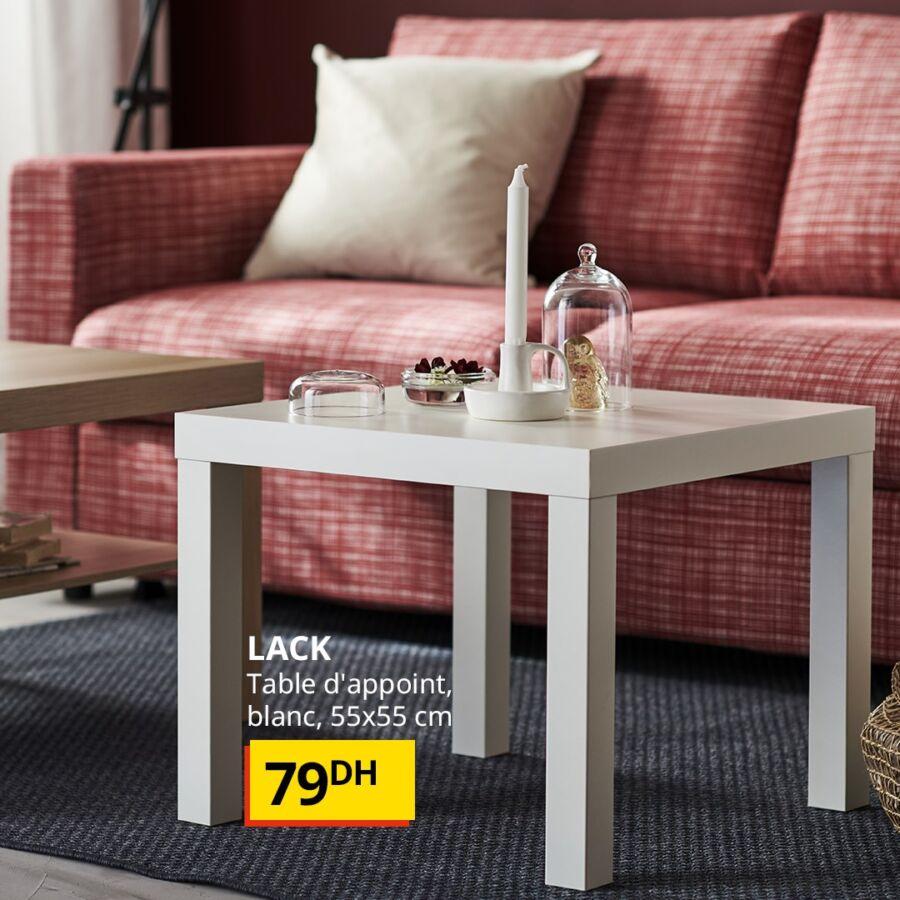 Offre Spécial chez Ikea Maroc Table d'appoint blanche LACK 55x55cm 79Dhs