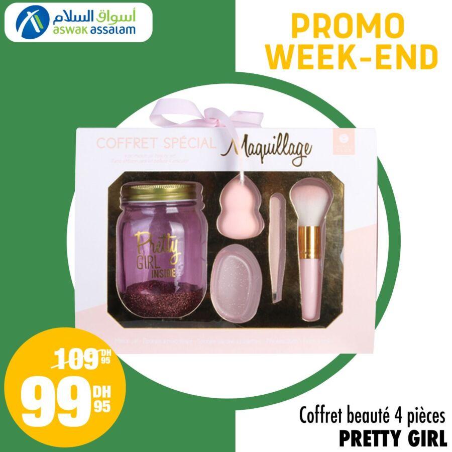 Promo Week-end Aswak Assalam Coffret beauté 4 pièces PRETTY GIRL 99Dhs au lieu de 109Dhs