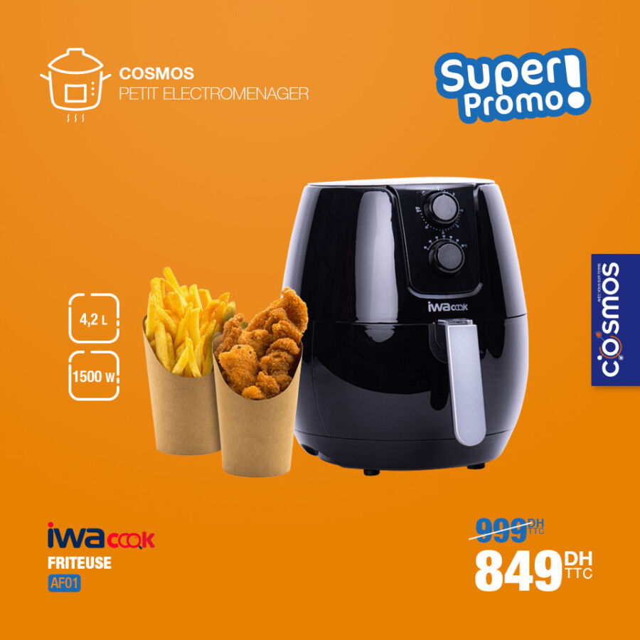 Super Promo Cosmos Electro Friteuse électrique IWACOOK 849Dhs au lieu de 999Dhs