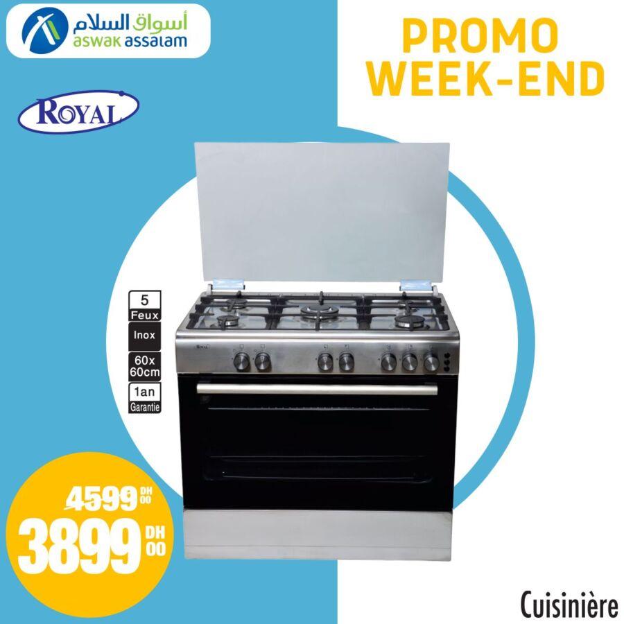 Promo Week-end Aswak Assalam Cuisinière 5 feux ROYAL 3899Dhs au lieu de 4599Dhs