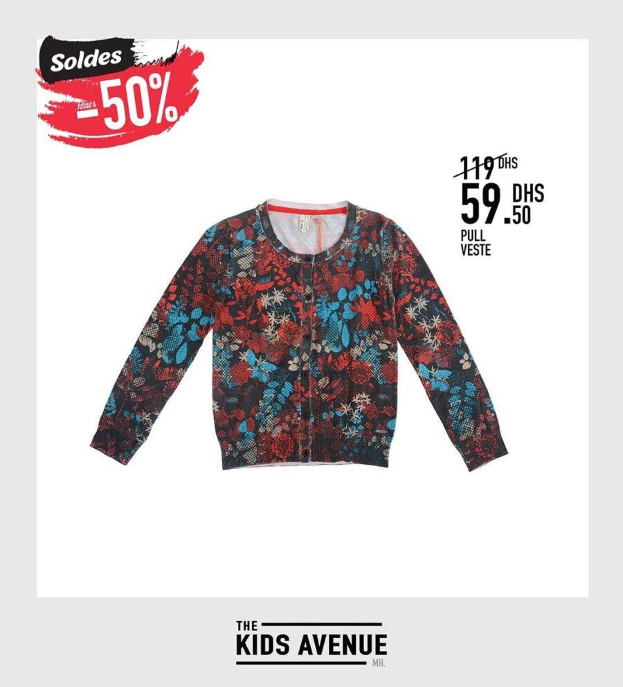Soldes -50% chez Kids Avenue Pull veste pour fille 59Dhs au lieu de 119Dhs