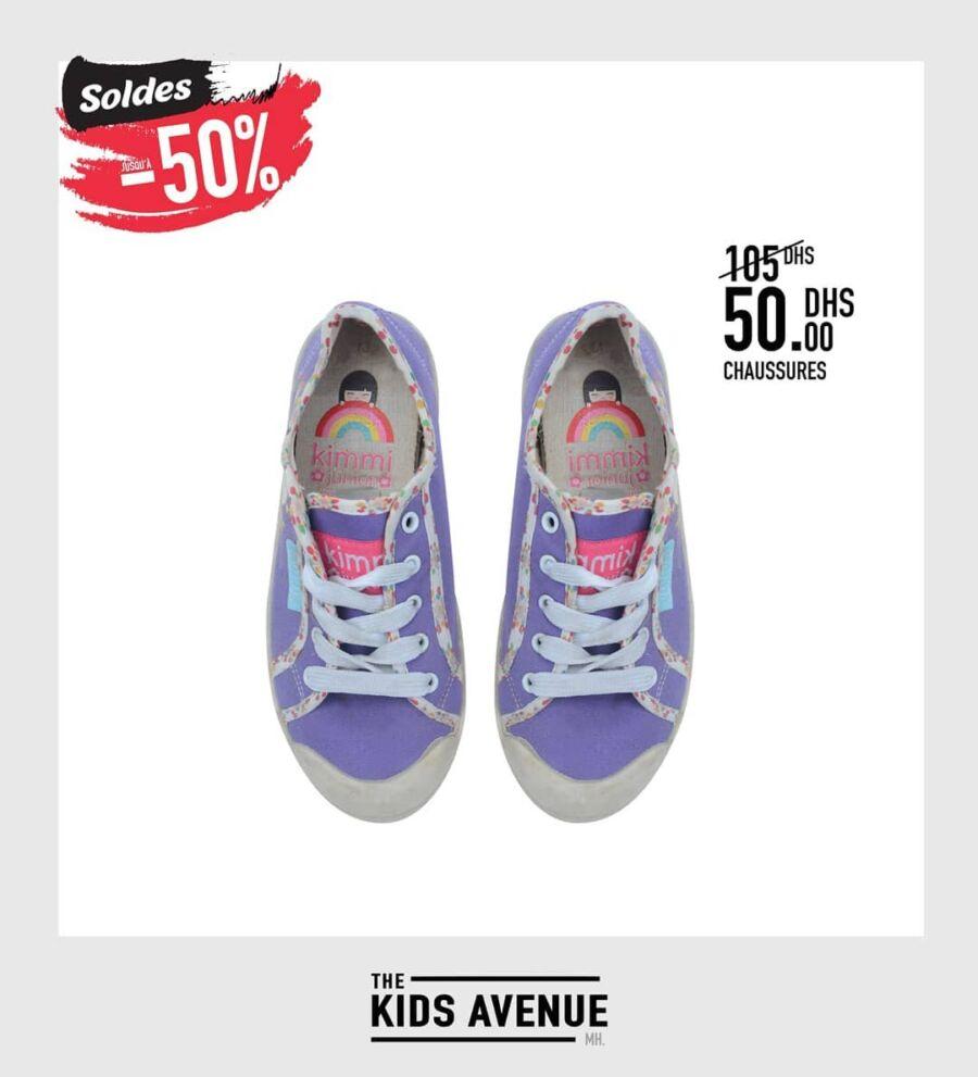 Soldes -50% chez Kids Avenue Chaussures sport 50Dhs au lieu de 105Dhs