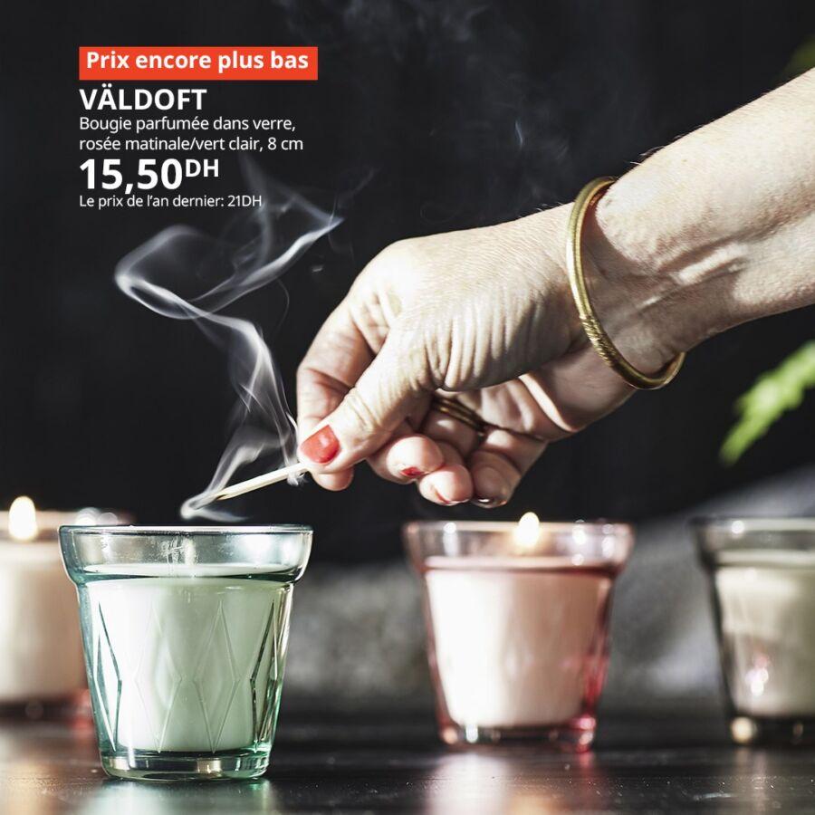 Soldes Ikea Maroc Bougie parfumée dans verre VALDOFT 15.50Dhs au lieu de 21Dhs