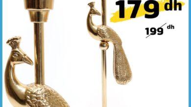 Soldes chez Alpha55 Bougeoir PAON OR 179Dhs au lieu de 199Dhs