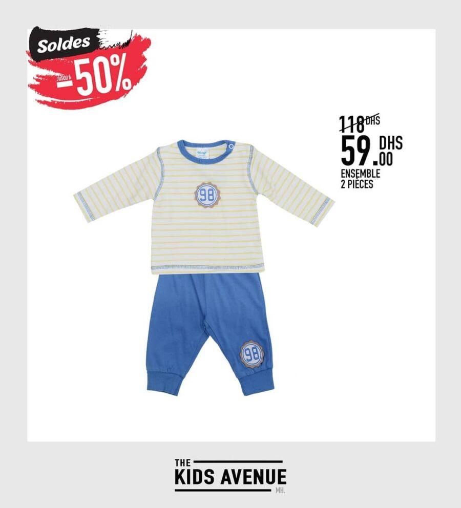 Soldes -50% chez Kids Avenue Ensemble 2 pièces pour garçon 59Dhs au lieu de 118Dhs