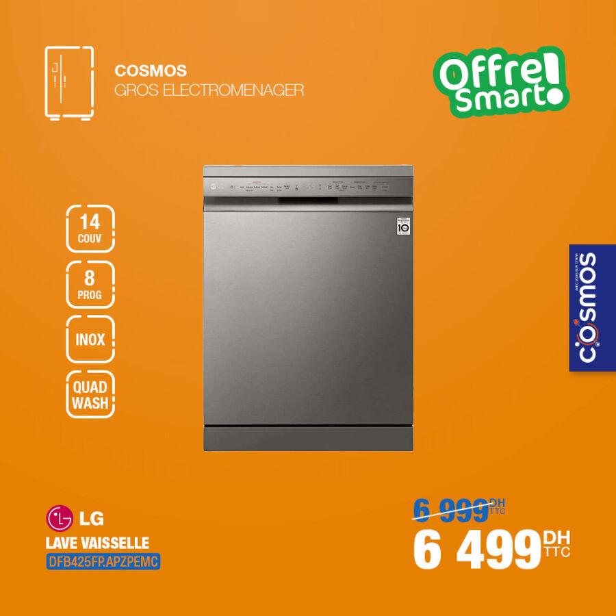 Offre Smart Cosmos Electro Lave Vaisselle LG 14couv 6499Dhs au lieu de 6999Dhs