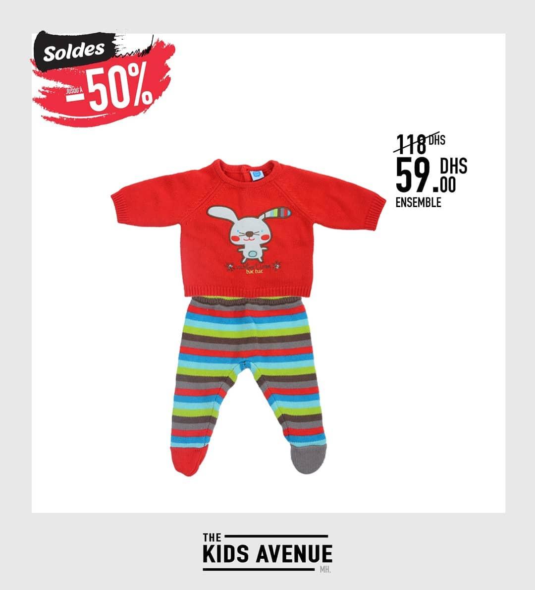 Soldes -50% chez Kids Avenue Ensemble bébé 59Dhs au lieu de 118Dhs