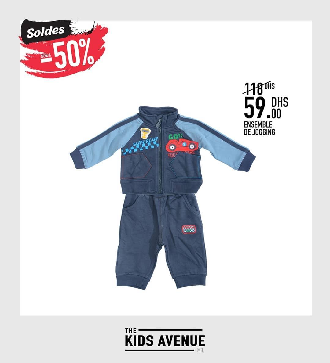Soldes -50% chez Kids Avenue Ensemble de jogging bébé 59Dhs au lieu de 118Dhs