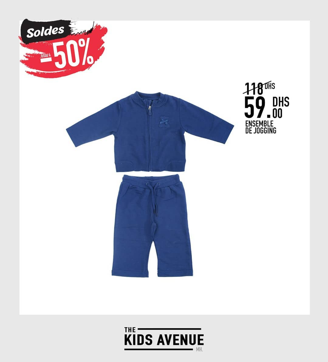 Soldes -50% chez Kids Avenue Ensemble de jogging enfant 59Dhs au lieu de 118Dhs
