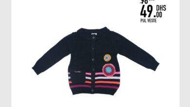 Soldes -50% chez Kids Avenue Pull Veste pour enfant 49Dhs au lieu de 98Dhs