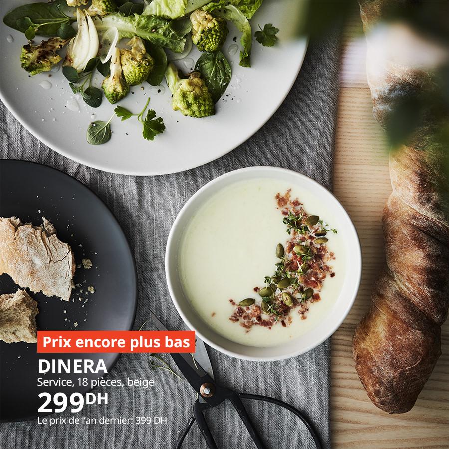 Soldes chez Ikea Maroc Service 18 pièces DINERA 299Dhs au lieu de 399Dhs