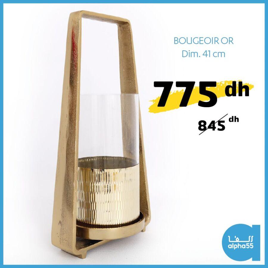 Offre Promotionnel Alpha55 Bougeoir OR 41cm 775Dhs au lieu de 845Dhs