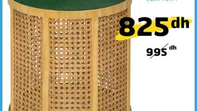 Soldes Alpha55 Tabouret cannage vert ARTY 825Dhs au lieu de 995Dhs