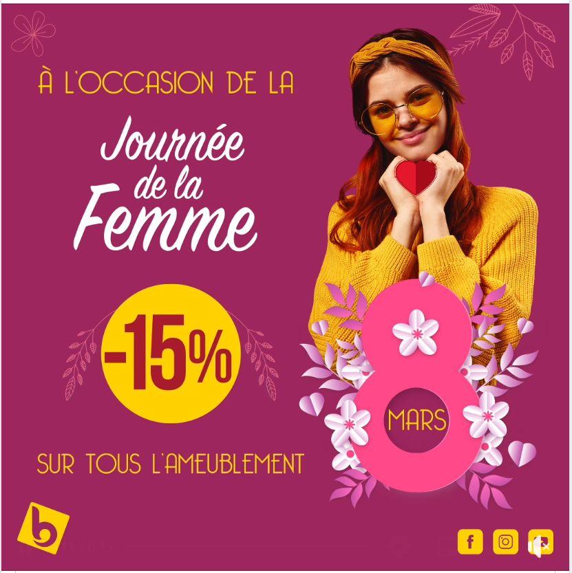 Spécial Journée de la femme chez Electro Bousfiha -15% sur tous l'ameublement