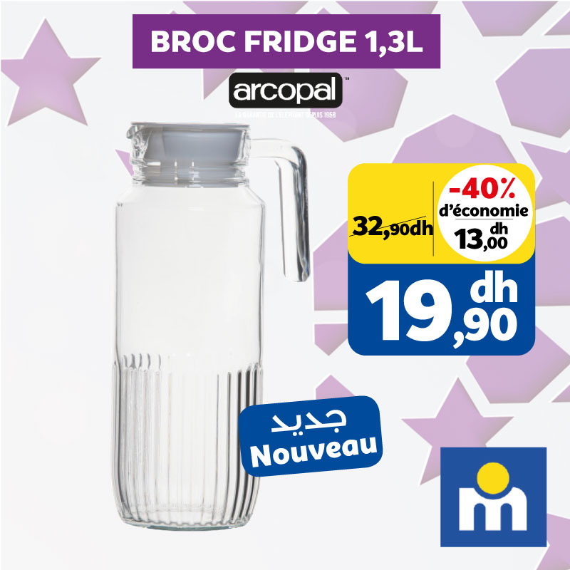 Soldes Marjane BROC FRIDGE1.3L ARCOPAL 19.90Dhs au lieu de 32.90Dhs