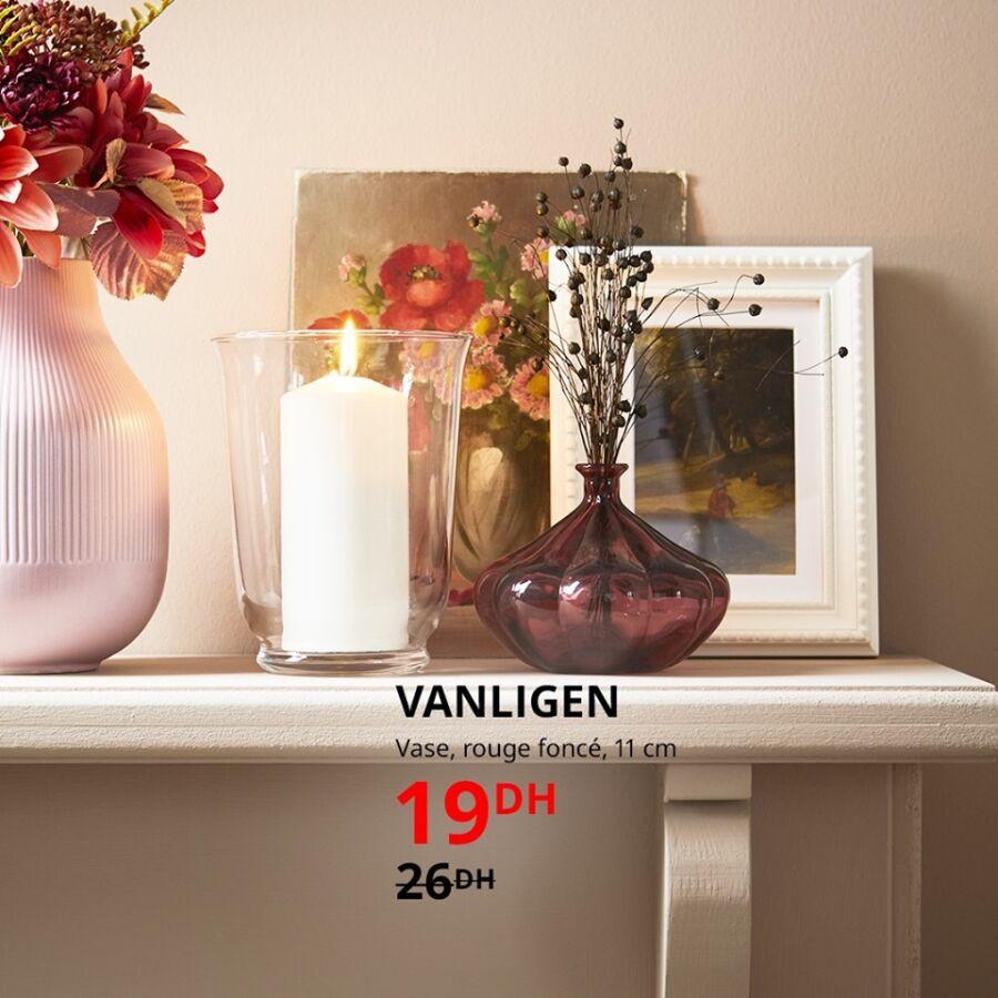 Soldes Ikea Maroc Vase rouge foncé 11cm VANLIGEN 19Dhs au lieu de 26Dhs