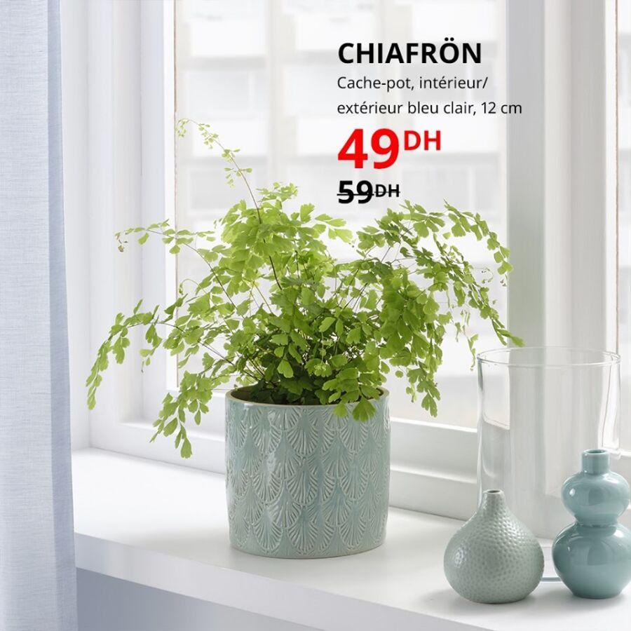 Soldes Ikea Maroc Cache-pot bleu clair 12cm CHIAFRON 49Dhs au lieu de 59Dhs