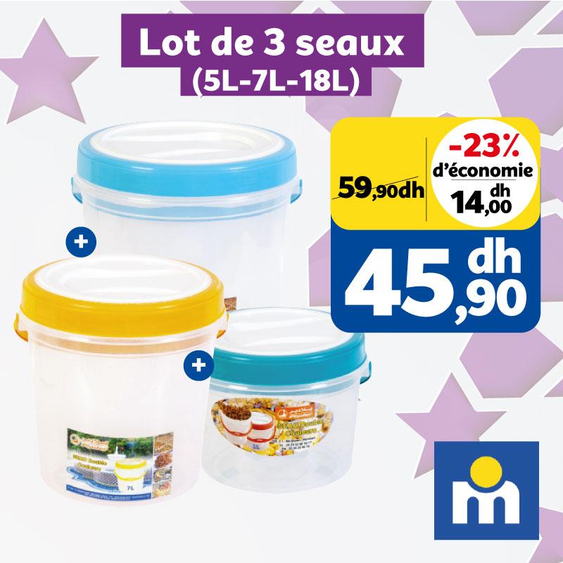 Soldes Marjane Lot de 3 seaux 5L-7L-18L 45.90Dhs au lieu de 59.90Dhs