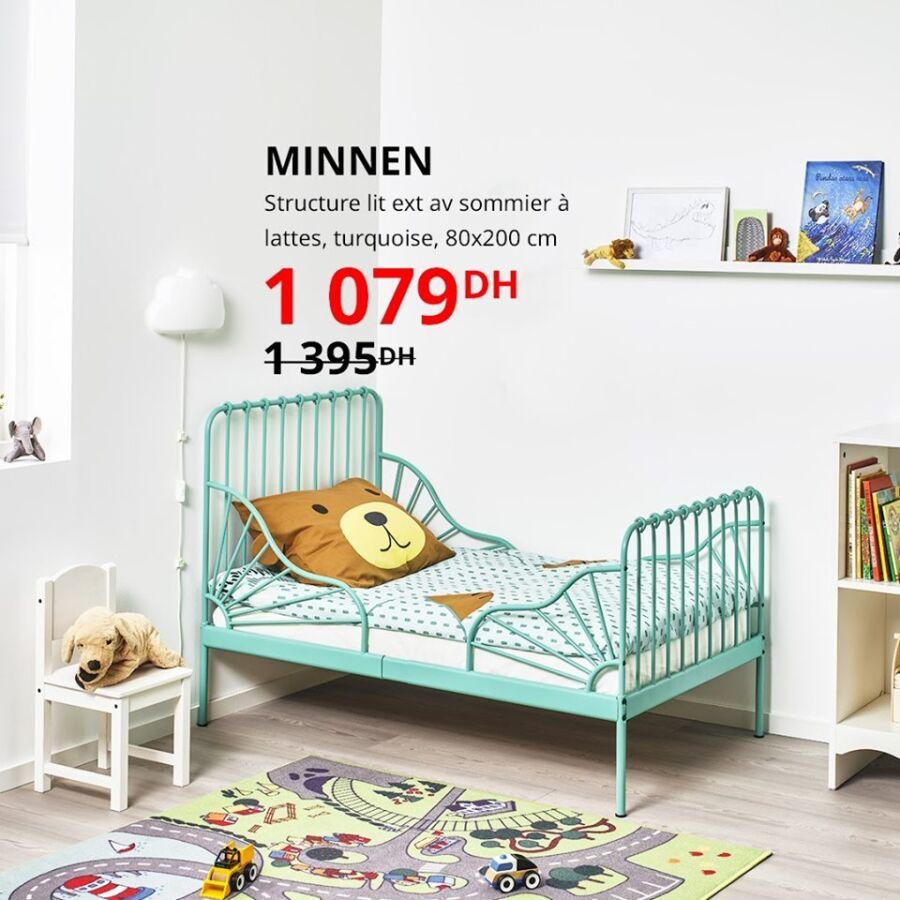 Soldes Ikea Maroc Structure lit avec sommier MINNEN 1079Dhs au lieu de 1395Dhs