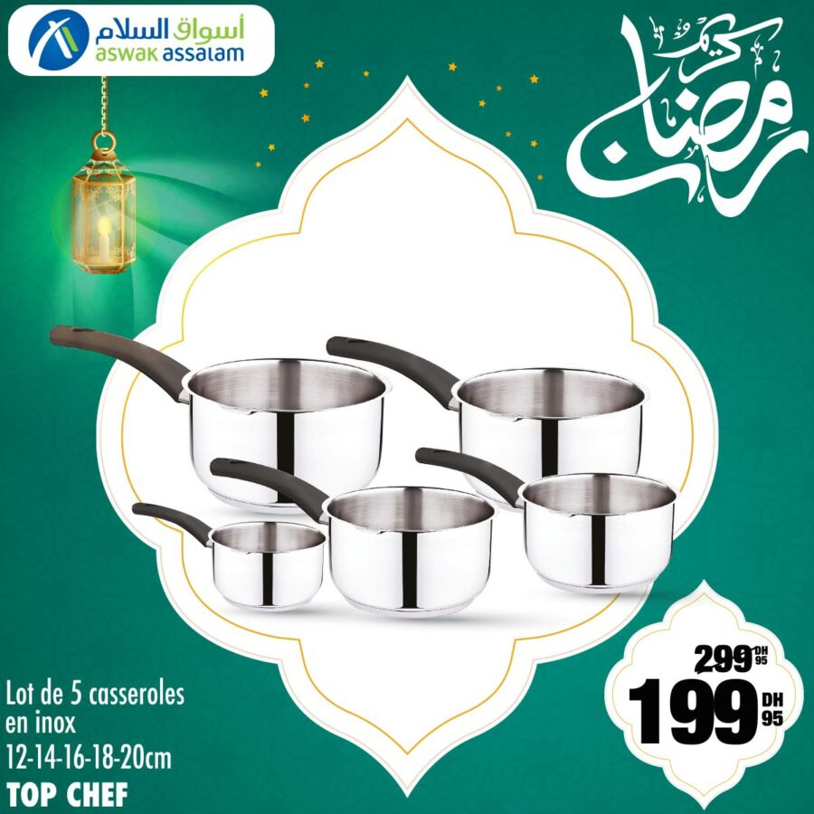 Soldes Aswak Assalam Lot de 5 casseroles en inox TOP CHEF 199Dhs au lieu de 299Dhs