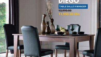 Soldes Istikbal Maroc Table salle à manger DIEGO 11990Dhs au lieu de 12990Dhs