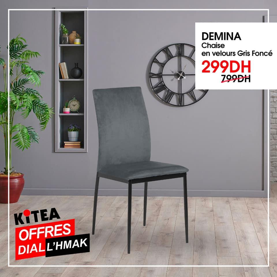 Soldes Kitea Chaise en velours DEMINA 299Dhs au lieu de 799Dhs