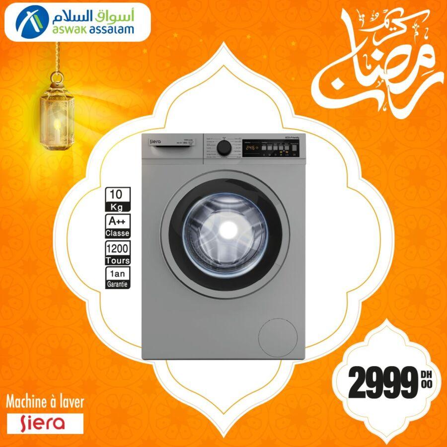 Offre du Ramadan Aswak Assalam Machine à laver SIERA 10Kg 2999Dhs