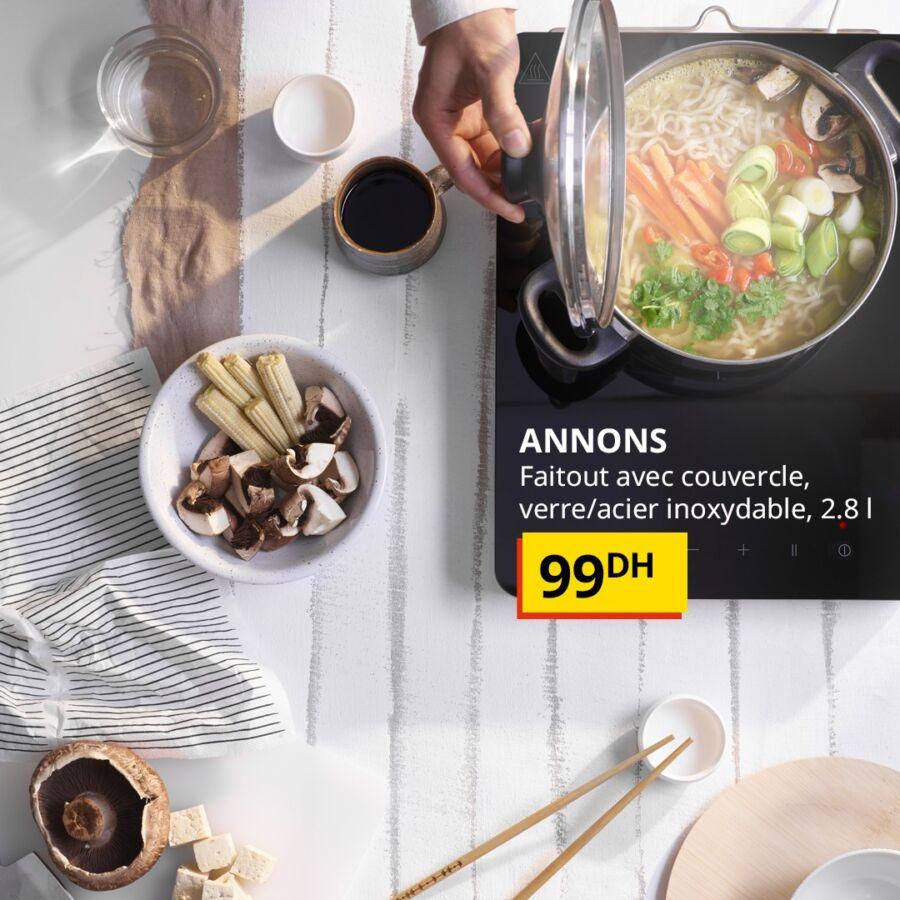 Offre Spécial Ikea Maroc Faitout avec couvercle ANNONS 99Dhs