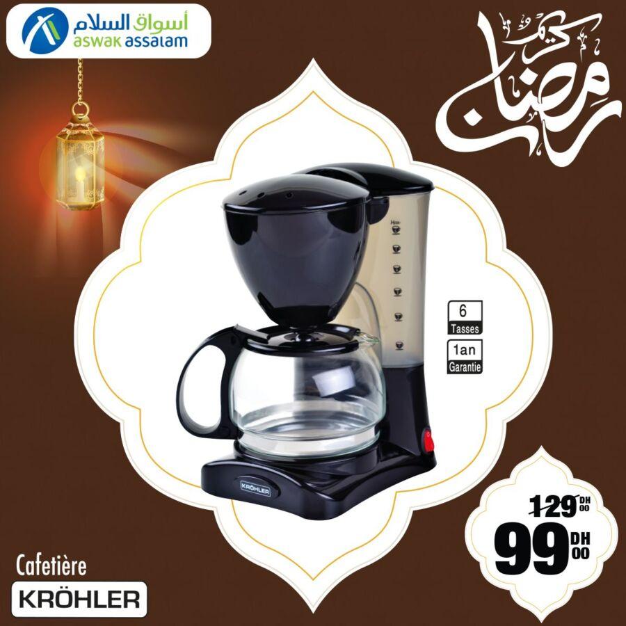 Soldes Aswak Assalam Cafetière 6 tasses KROHLER 99Dhs au lieu de 129Dhs