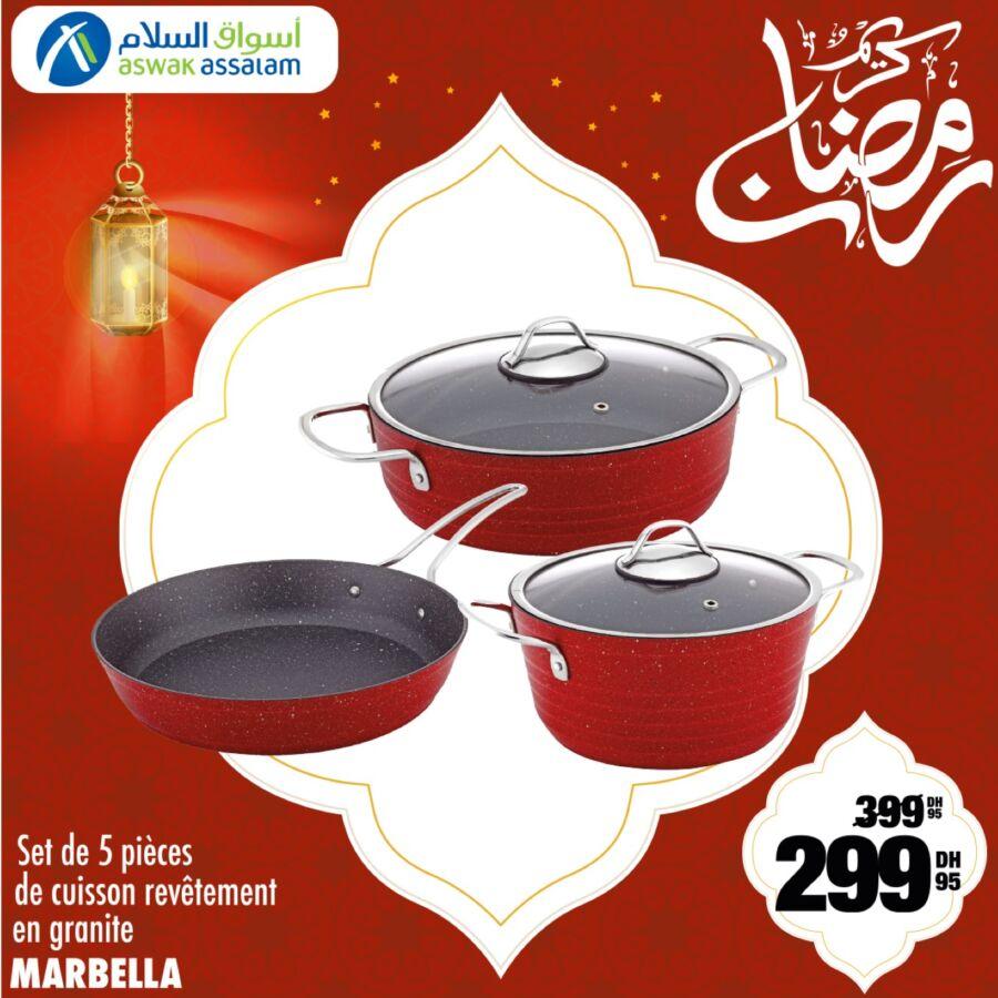 Soldes Aswak Assalam Set de 5 pièces de cuisson revêtement en granite MARBELLA 299Dhs au lieu de 399Dhs