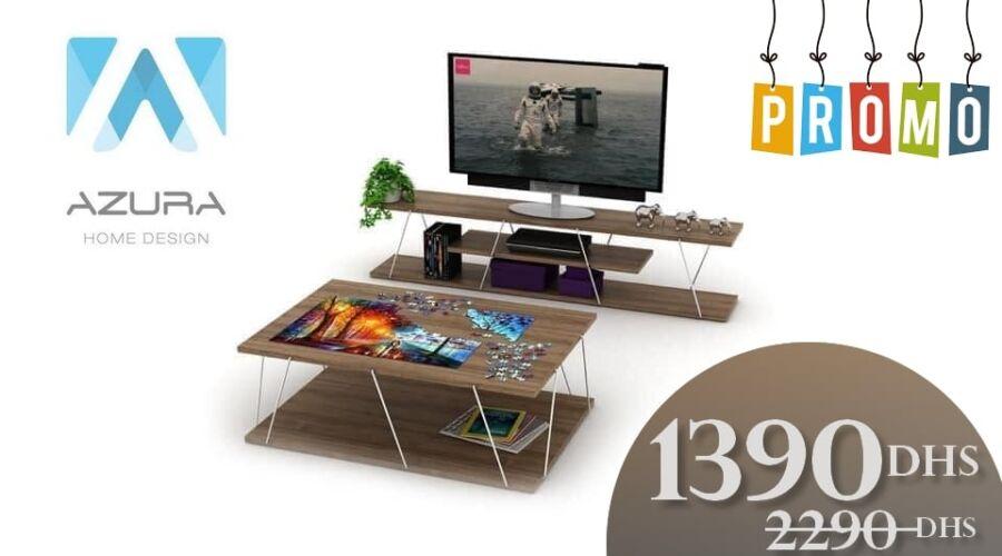 Soldes Azura Home Meuble tv + table basse salon TARS 1390Dhs au lieu de 2290Dhs