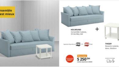 Soldes Ikea Maroc Canapé convertible + Desserte roulante 5250Dhs au lieu de 6494Dhs