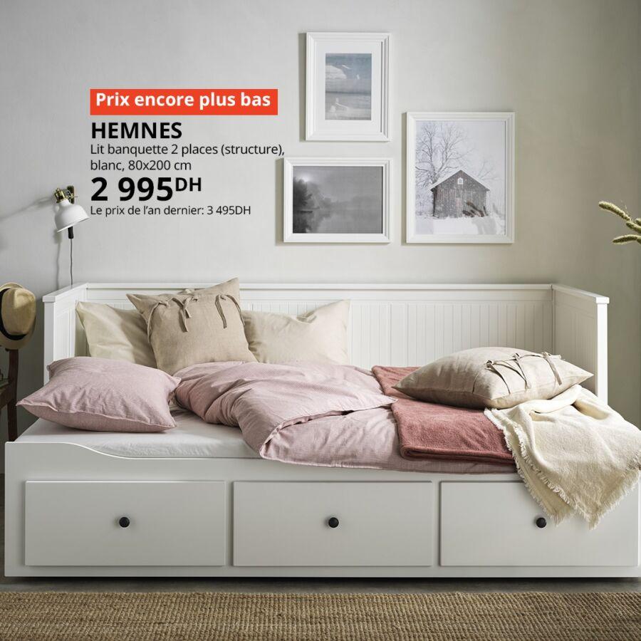Soldes Ikea Maroc Lit banquette 2 places HEMNES 2995Dhs au lieu de 3495Dhs