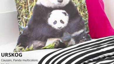 Soldes Ikea Maroc Coussin panda multicolore 50x50 URSKOG 85Dhs au lieu de 149Dhs