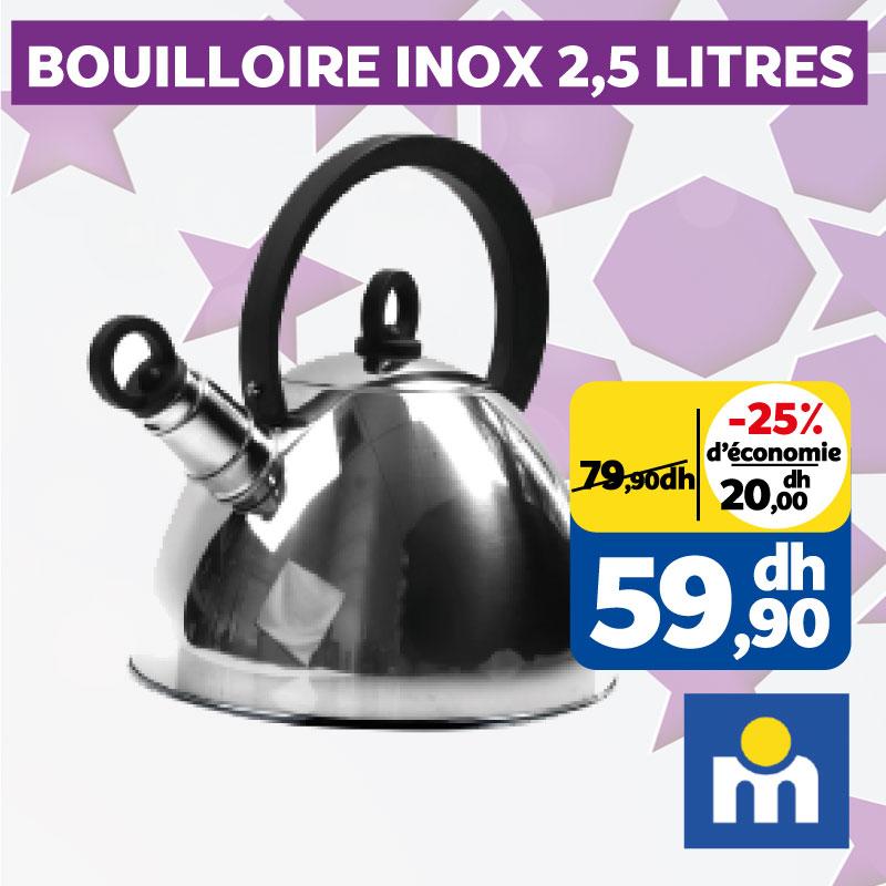 Soldes Marjane Bouilloire en inox 2.5L 59.90Dhs au lieu de 79.90Dhs