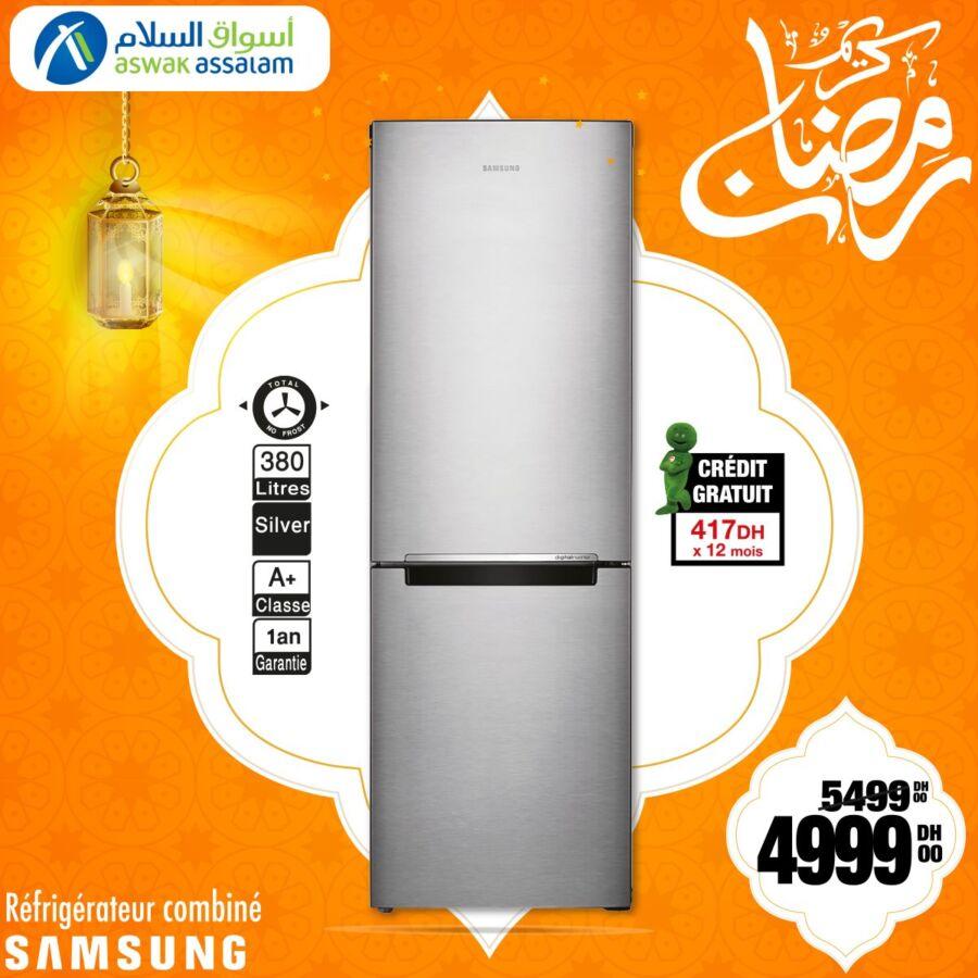 Soldes Aswak Assalam Réfrigérateur combiné SAMSUNG 380L 5999Dhs au lieu de 5499Dhs