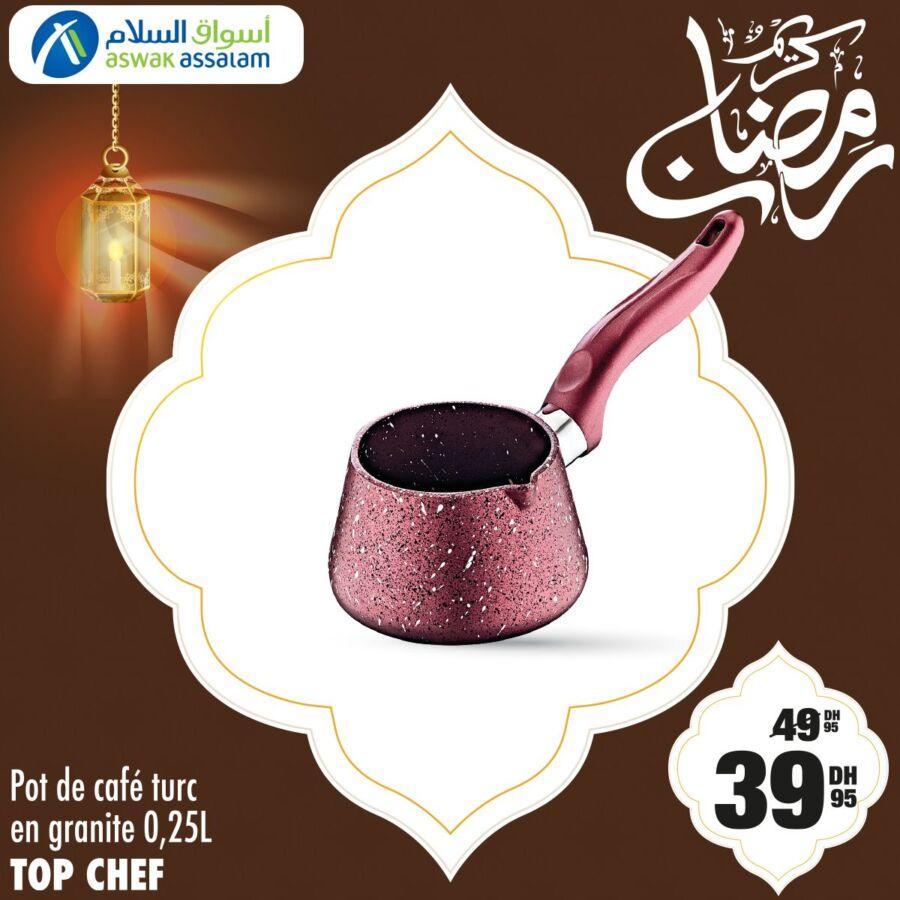 Soldes Aswak Assalam Pot de café turque en granite TOP CHEF 39.95Dhs au lieu de 49.95Dhs