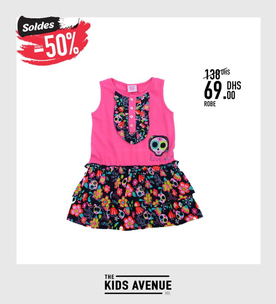 Soldes Kids Avenue MH Robe pour fille 69Dhs au lieu de 138Dhs