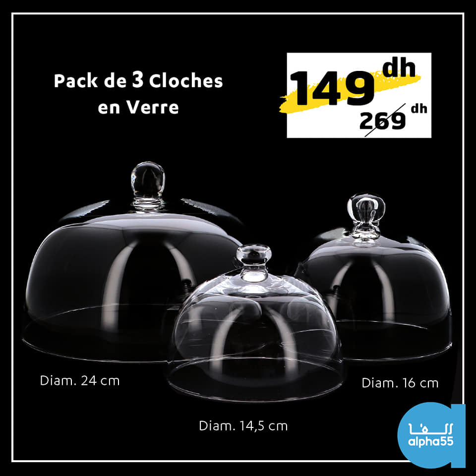 Soldes Alpha55 Pack de 3 cloches en verre 149Dhs au lieu de 269Dhs