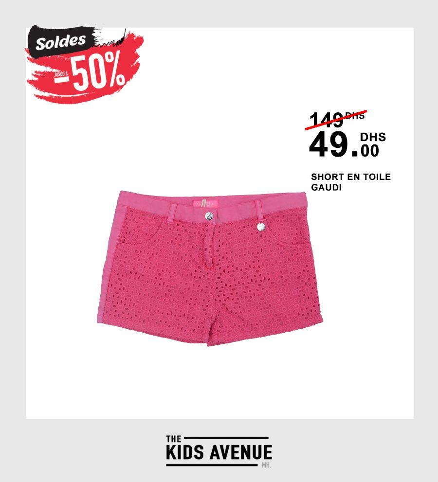 Soldes Kids Avenue MH Short en toile GAUDI 49Dhs au lieu de 149Dhs