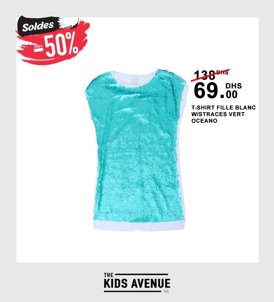 Soldes Kids Avenue MH T-shirt FILLE BLANC W/STRACES VERT OCEANO 69Dhs au lieu de 138Dhs