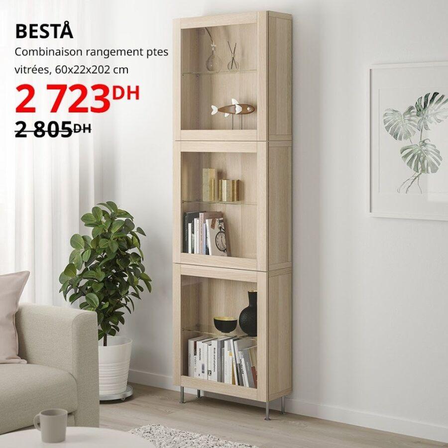 Soldes Ikea Maroc Combinaison vitrées BESTA 2733Dhs au lieu de 2805Dhs